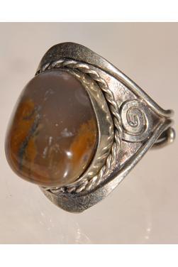 Bague avec pierre agathe marron