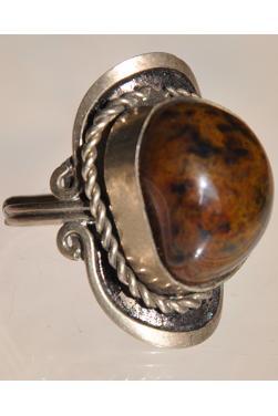 Bague avec pierre agate marron