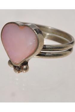 Bague corazon en pierre quartz rose