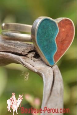 Bague avec pierre turquoise et jaspe rouge, pièce unique