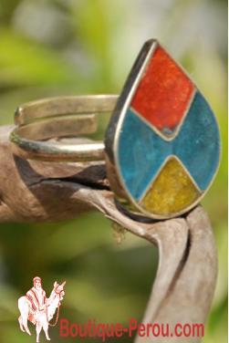 Bague avec pierres du Pérou, pièce unique