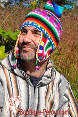 Bonnet péruvien homme arc en ciel bleu