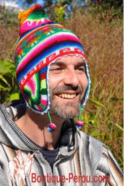 Bonnet péruvien homme arc en ciel
