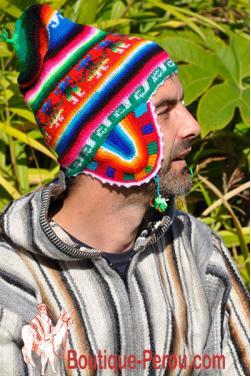 Bonnet péruvien homme arco iris vert