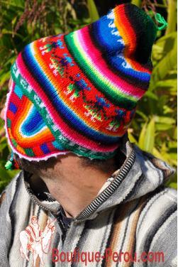 Bonnet péruvien homme arc en ciel vert