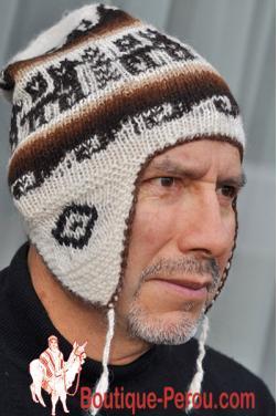 Bonnet péruvien homme blanc crème
