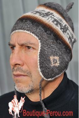 Bonnet péruvien homme gris foncé.