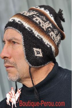 Bonnet péruvien homme noir azabache
