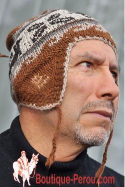 Bonnet péruvien homme couleur châtaigne