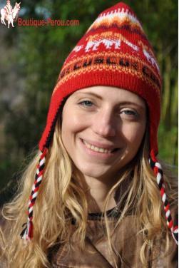 Bonnet péruvien reversible en laine d'alpaga