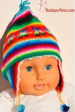 Bonnet péruvien pour nouveau né