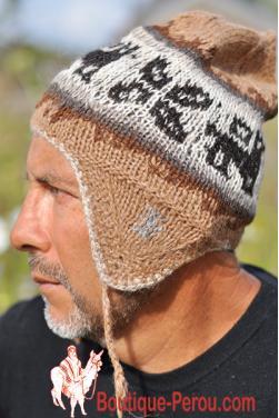 Bonnet péruvien homme beige