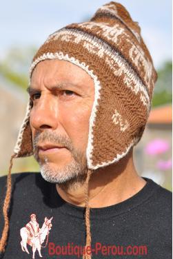 Bonnet péruvien homme couleur camel