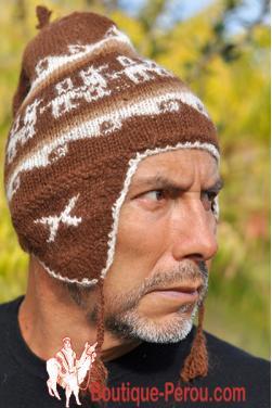 Bonnet péruvien homme marron