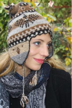 Bonnet péruvien en alpaga-Chullo