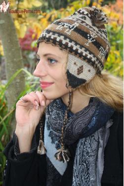 Bonnet péruvien gris beige-Chullo