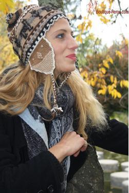 Bonnet péruvien couleur camel-Chullo