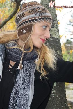 Bonnet péruvien marron beige-Chullo