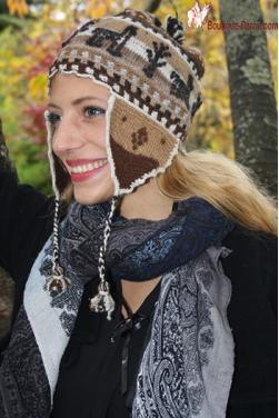 Bonnet péruvien en couleurs naturelles de la laine
