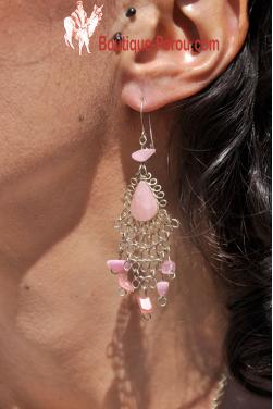 Boucles d'oreilles en pierre quartz rose Kantuta