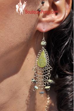 Boucles d'oreilles en pierre serpentine Kantuta.