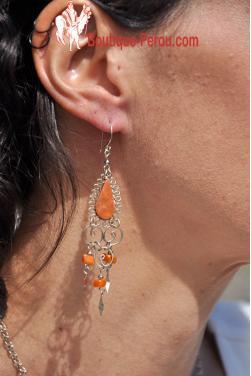 Boucles d'oreilles Warmi - pierre jaspe rouge.
