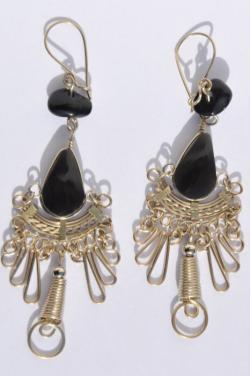 Boucles d'oreilles en onyx Kantuta