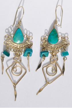 Boucles d'oreilles en turquoise le Kantuta