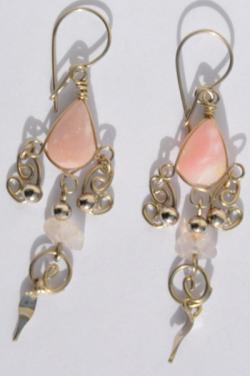 Boucles d'oreilles pierre quartz rose Chaska.