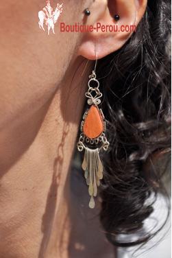 Boucles d'oreilles Inti - jaspe rouge.