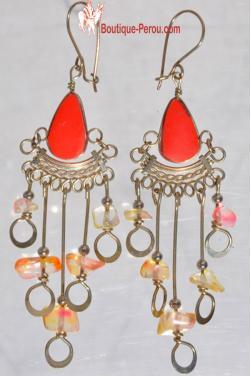 Boucles d'oreilles pierre jaspe rouge Chaska.
