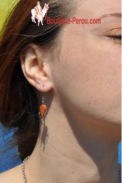 Boucles d'oreilles Tikca - en pierre jaspe rouge