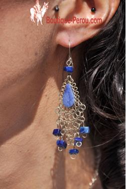 Boucles d'oreilles en pierre lapis-lazuli Kantuta