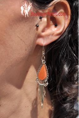 Boucles d'oreilles  en jaspe rouge - Kuntur