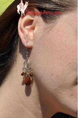 Boucles d'oreilles en pierre Oeil de tigre Nazca