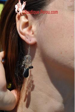Boucles d'oreilles en pierre onyx Nazca