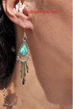 Boucles d'oreilles  en turquoise - Kuntur