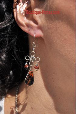 Boucles d'oreilles en pierre oeil de tigre.