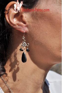 Boucles d'oreilles en onyx.