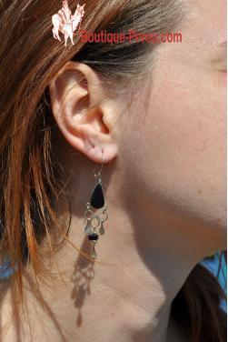 Boucles d'oreilles en pierre onyx pierre-Chaska.