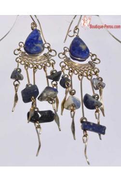 Boucles d'oreilles en lapis-lazuli Nazca