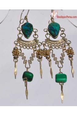 Boucles d'oreilles turquoise pierre semi precieuse - Chaska.