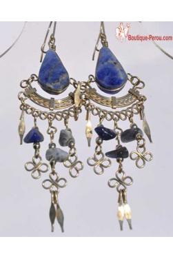 Boucles d'oreilles pierre lapis-lazuli Chaska.