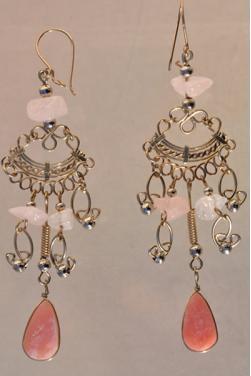Boucles d'oreilles en quartz rose - Quilla