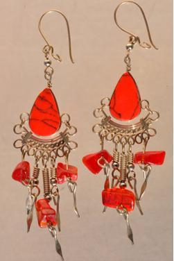 Boucles d'oreilles en jaspe rouge Nazca