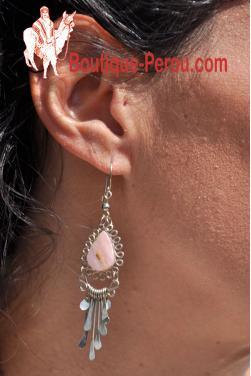 Boucles d'oreilles  en quartz rose - Kuntur
