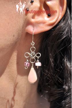 Boucles d'oreilles en quartz rose.