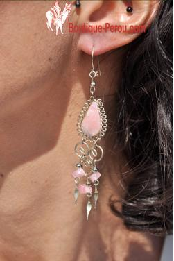 Boucles d'oreilles Warmi - en pierre quartz rose.