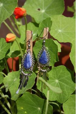 Boucles d'oreilles  en lapis-lazuli - Kuntur