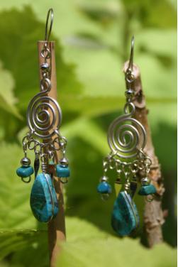 Boucles d'oreilles en pierre turquoise Nazca